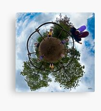 Siblings on a 6 Seater Swing Canvas Print