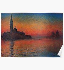 Monet Dusk Venice  Poster