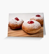 Sufganiyah (sufganiyot) a traditional Jewish Doughnut  Greeting Card