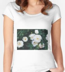 Close-up of white garden roses. Macro shot. Women's Fitted Scoop T-Shirt