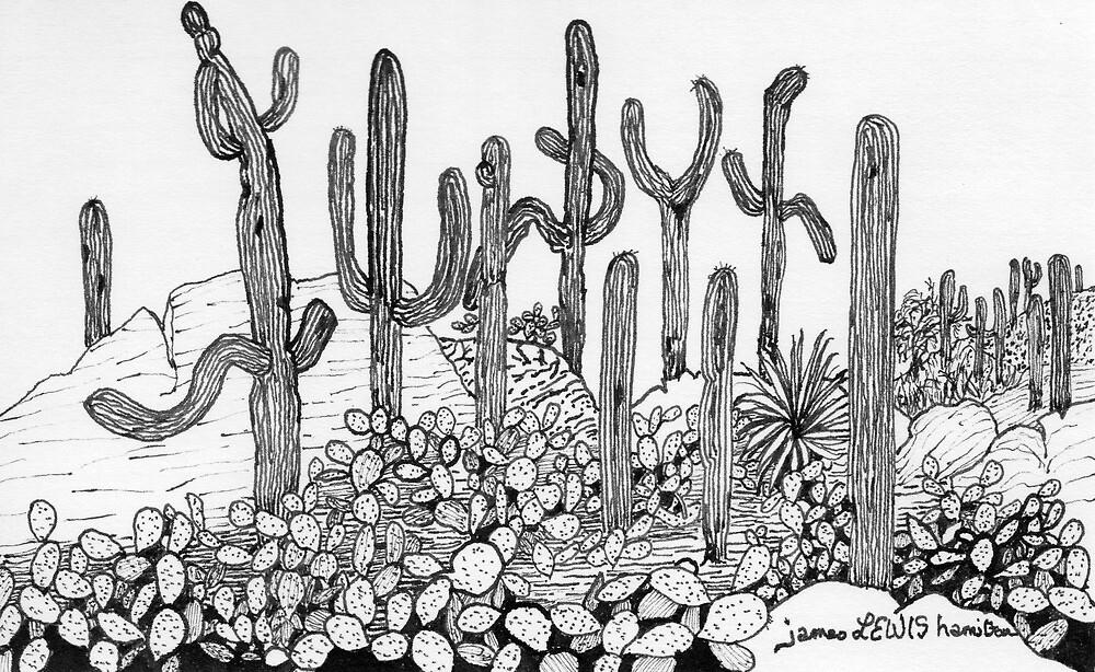 Dancing Saguaros by James Lewis Hamilton