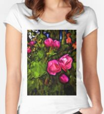 Pink Blossoms in the Green Wind Women's Fitted Scoop T-Shirt