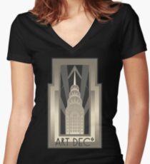 NY Chrysler Building Women's Fitted V-Neck T-Shirt