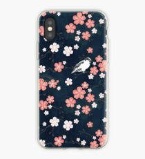 Navy and pink bird cherry blossom iPhone Case