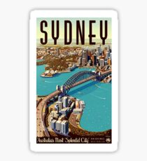 Sydney, big city, port, panoramic view, tourist travel, vintage, poster Sticker