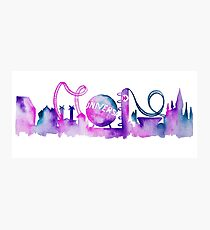 Orlando Theme Park Inspired Watercolor Skyline Silhouette Photographic Print