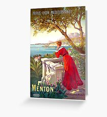 Menton, France, French riviera, vintage travel poster Greeting Card