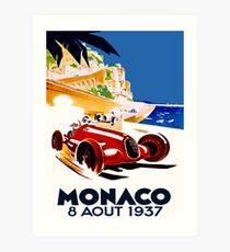 """MONACO GRAND PRIX"" Vintage Auto Racing Advertising Print Art Print"