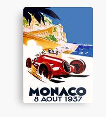 """MONACO GRAND PRIX"" Vintage Auto Racing Advertising Print Metal Print"