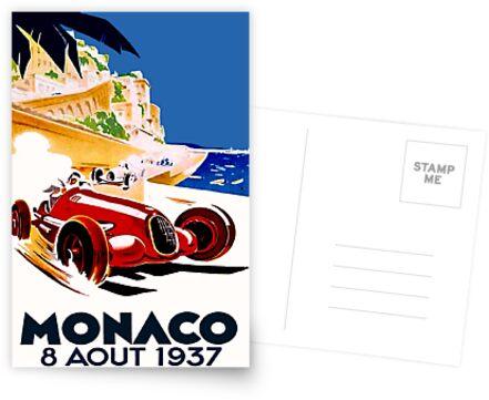 """MONACO GRAND PRIX"" Vintage Auto Racing Werbung Drucken von posterbobs"