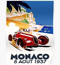 """""""MONACO GRAND PRIX"""" Vintage Auto Racing Werbung Drucken Poster"""