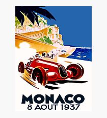 """MONACO GRAND PRIX"" Vintage Auto Racing Advertising Print Photographic Print"