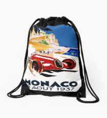 """MONACO GRAND PRIX"" Vintage Auto Racing Advertising Print Drawstring Bag"