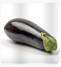 Fresh and organic Eggplant on white background Poster
