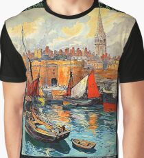 Côte d'Émeraude, Bretagne, France, Port, Saint-Malo, vintage travel poster Graphic T-Shirt