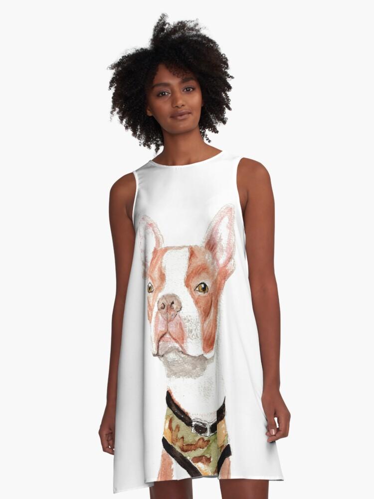 Portrait of a Boston Terrier A-Line Dress Front