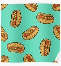 Hot dog sausage Fast food vector seamless pattern. Junk food on green Poster