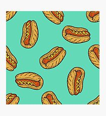 Hot dog sausage Fast food vector seamless pattern. Junk food on green Photographic Print