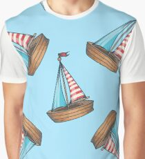 sailboat cruise marine transportation vector romantic seamless pattern. For child, toy, textile. Ship on blue Graphic T-Shirt
