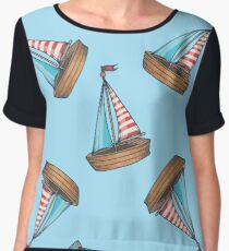 sailboat cruise marine transportation vector romantic seamless pattern. For child, toy, textile. Ship on blue Chiffon Top