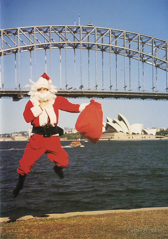 Jumping Santa, Sydney, Australia. by Cathie Brooker