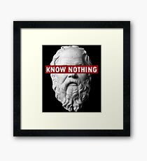KNOW NOTHING SOCRATES humor funny slogan philosophy censored Framed Print