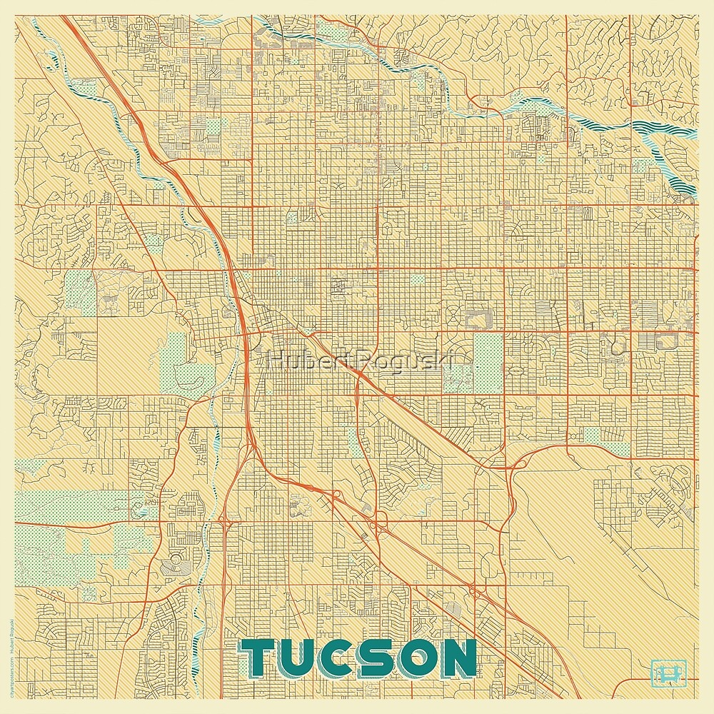 Tucson Map Retro by HubertRoguski