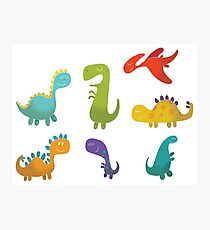Cute Cartoon Dinosaurs Photographic Print