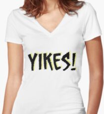 Yikes! Scary Font Quote Scoobydoo Women's Fitted V-Neck T-Shirt