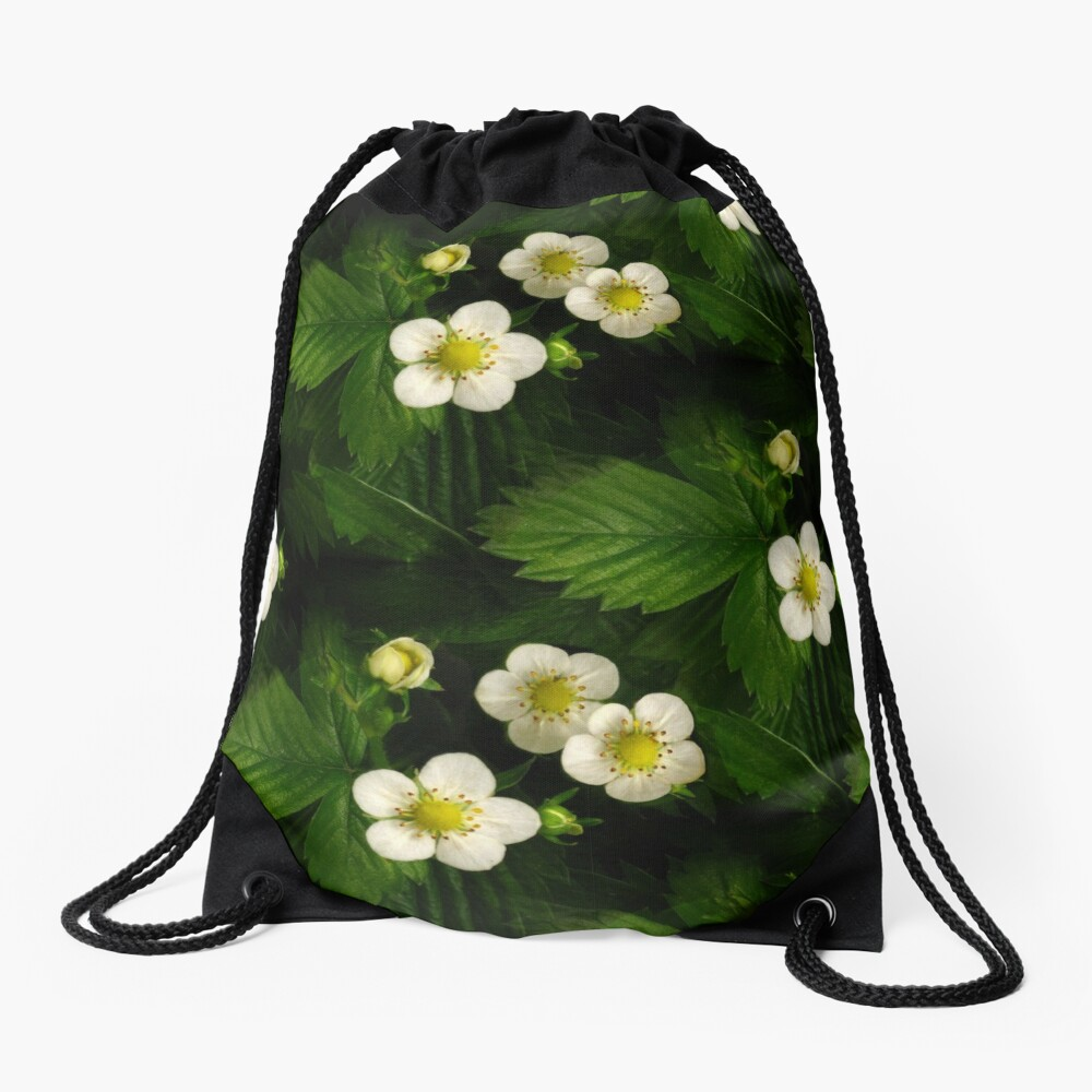 Wild Strawberry Blossom Drawstring Bag