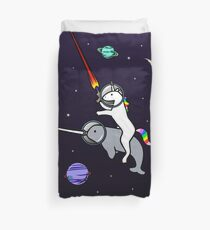 Unicorn Riding Narwhal In Space Duvet Cover