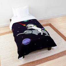 Unicorn Riding Narwhal In Space Comforter