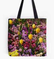 Tulips Among Pansies Tote Bag