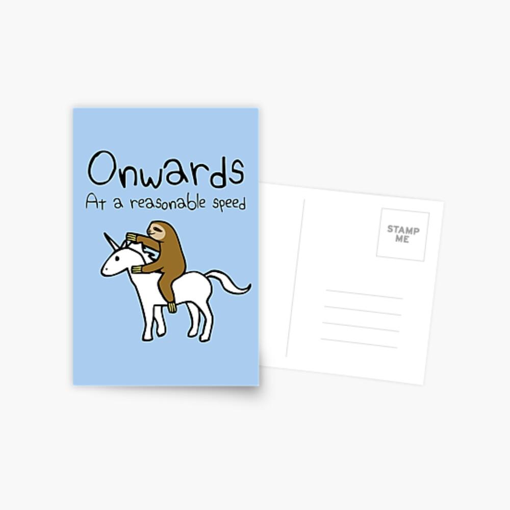 Weiter! Mit einer angemessenen Geschwindigkeit (Faultier Einhorn) Postkarte