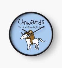 Onwards! At A Reasonable Speed (Sloth Riding Unicorn) Clock