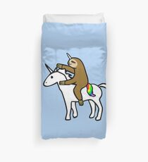 Slothicorn Riding Unicorn Duvet Cover