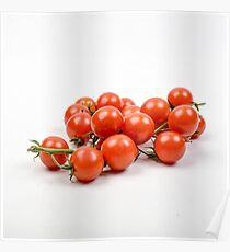 Fresh and organic cherry tomatoes on white background Poster