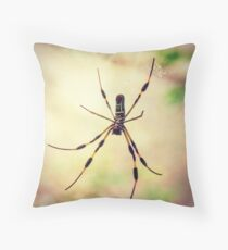 Golden Silk Orb Weaver Spider Throw Pillow
