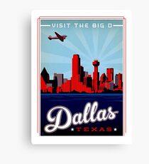 Dallas, Texas, airline, urban city, illustration, vintage travel poster Canvas Print