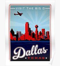 Dallas, Texas, airline, urban city, illustration, vintage travel poster Poster