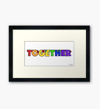 TOGETHER (rainbow colorway) Framed Print