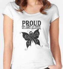 Proud to Be Pale Melanoma Awareness Butterfly Women's Fitted Scoop T-Shirt