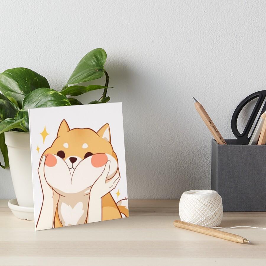 Kawaii Shiba inu Art Board Print
