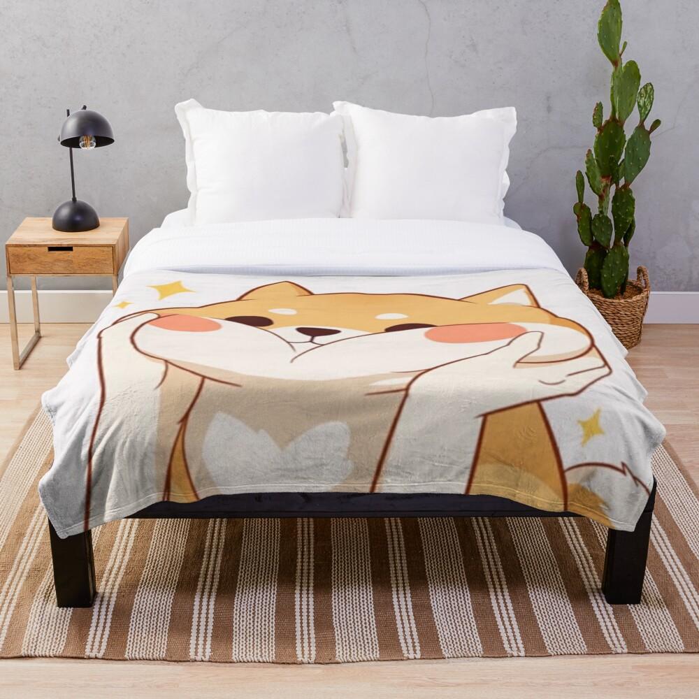 Kawaii Shiba inu Throw Blanket