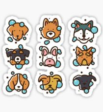Dogs Washing Icons, Dogs Wash Cartoon Sticker