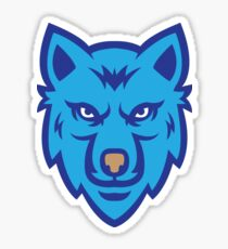 Blue Wolf Face Logo Sticker