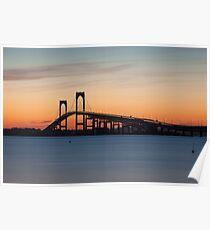 Newport Bridge Sunset, Rhode Island Poster