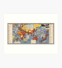 Vintage Map - Victory of the Second World War, 1945 Art Print
