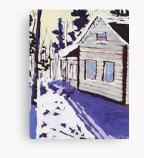 Cottage Snow Shadows Canvas Print