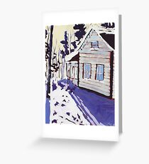 Cottage Snow Shadows Greeting Card